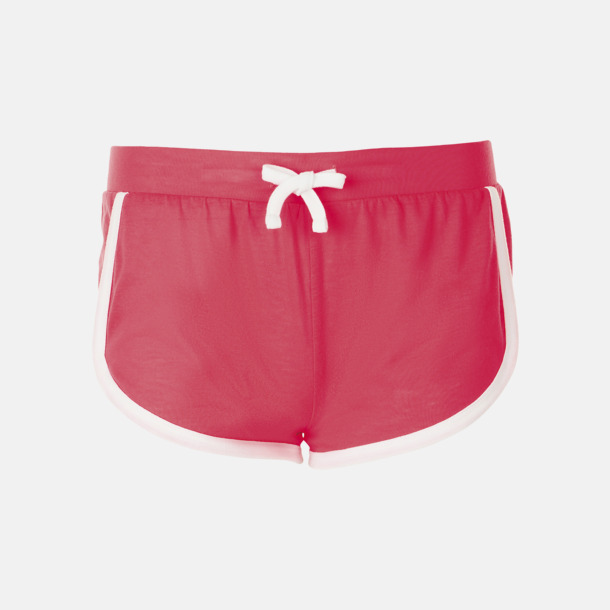 Neon Coral Korta och färgglada retro shorts med reklamtryck