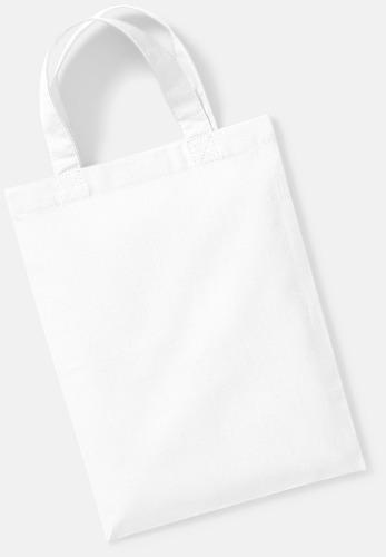 Vit Små presentpåsar i bomull med reklamtryck