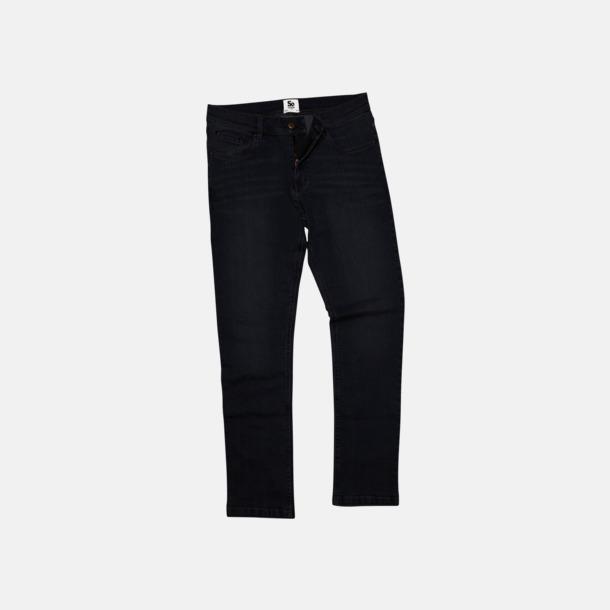 Svart (herr) Raka herr- & dam denim jeans med reklamlogo