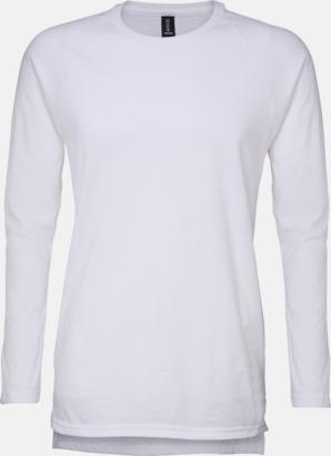 Vit Långärmade lightweight t-shirts med reklamtryck