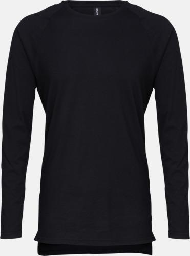 Svart Långärmade lightweight t-shirts med reklamtryck