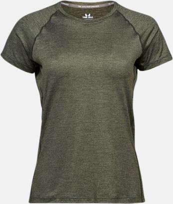Olive Melange (dam) Funktions t-shirts i herr- & dammodell med reklamtryck