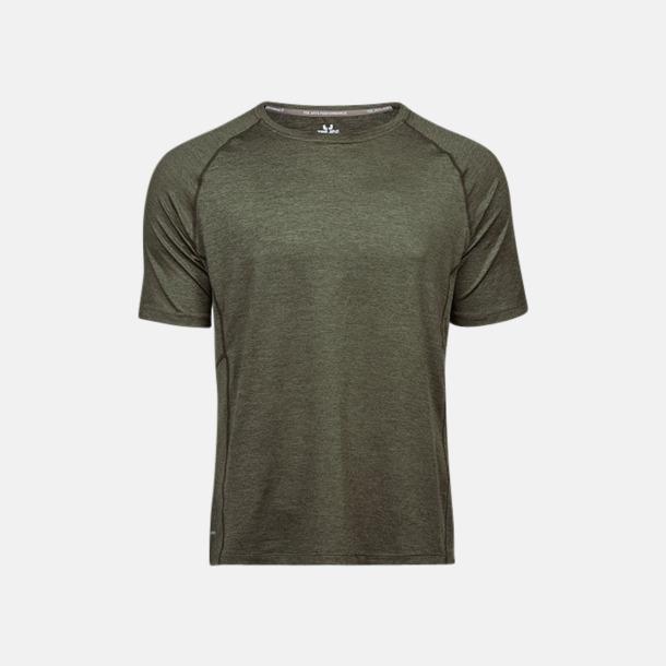 Olive Melange (herr) Funktions t-shirts i herr- & dammodell med reklamtryck