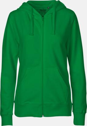 Dam Grön (PMS 347U) Ekologiska huvtröjor med blixtlås i herr- & dammodell med reklamtryck