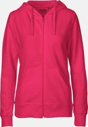 Dam Rosa (PMS 226 U) Ekologiska huvtröjor med blixtlås i herr- & dammodell med reklamtryck