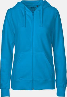 Dam Sapphire (PMS Cyan C) Ekologiska huvtröjor med blixtlås i herr- & dammodell med reklamtryck