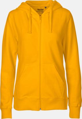 Dam gul  (PMS122U) Ekologiska huvtröjor med blixtlås i herr- & dammodell med reklamtryck