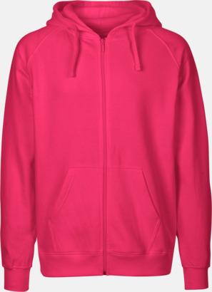 Herr Rosa (PMS 226 U) Ekologiska huvtröjor med blixtlås i herr- & dammodell med reklamtryck