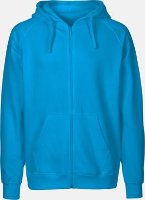 Herr Sapphire (PMS Cyan C) Ekologiska huvtröjor med blixtlås i herr- & dammodell med reklamtryck