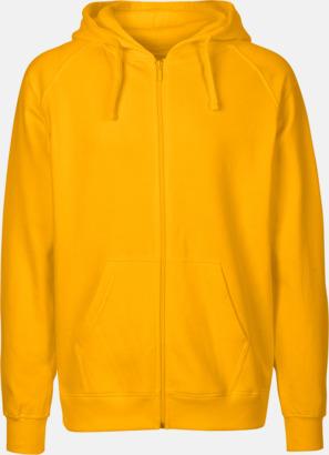 Herr gul (PMS122U) Ekologiska huvtröjor med blixtlås i herr- & dammodell med reklamtryck
