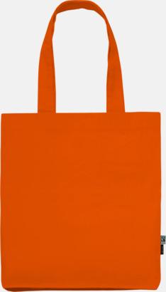 Orange (PMS 021C) Kassar av Fairtrade-certifierad, ekologisk bomull med reklamtryck