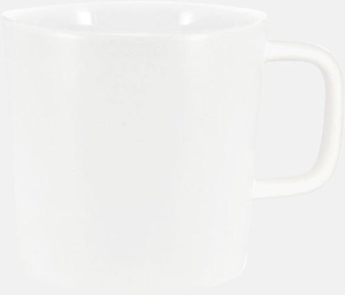 Vit (matt utsida, blank insida) Kaffemuggar med kantiga öron - med reklamtryck