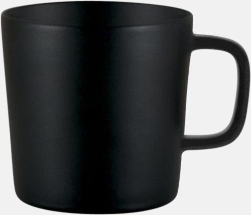 Svart (helmatt) Kaffemuggar med kantiga öron - med reklamtryck