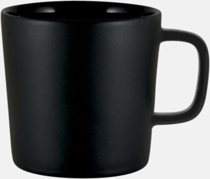 Svart (Matt utsida, Blank insida) Kaffemuggar med kantiga öron - med reklamtryck
