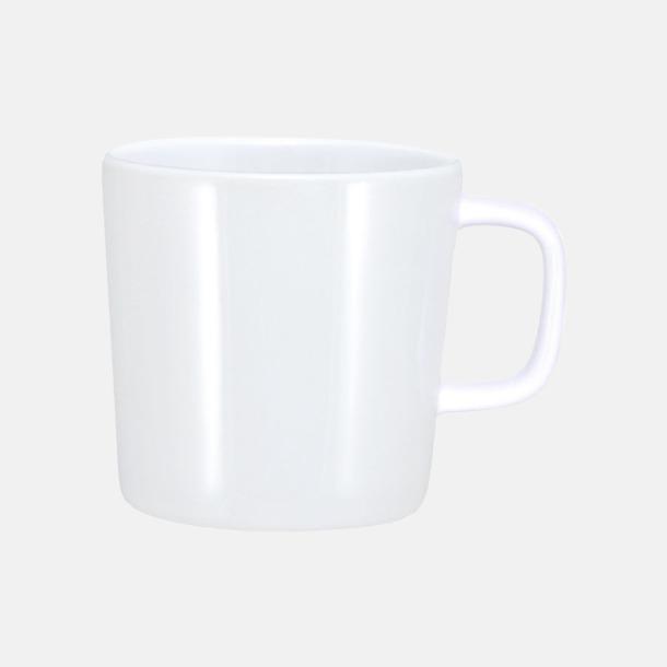 Vit (helblank) Kaffemuggar med kantiga öron - med reklamtryck