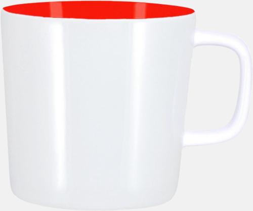 Vit/Röd (helblank) Kaffemuggar med kantiga öron - med reklamtryck