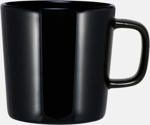 Svart (helblank) Kaffemuggar med kantiga öron - med reklamtryck