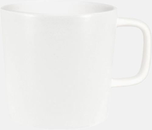 Vit (helmatt) Kaffemuggar med kantiga öron - med reklamtryck
