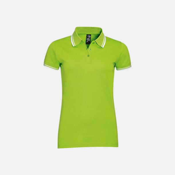 Lime/Vit (dam) Herr- och dampikéer med kontrasterande ränder - med tryck eller brodyr