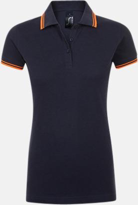 French Navy/Neon Orange (dam) Herr- och dampikéer med kontrasterande ränder - med tryck eller brodyr
