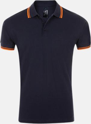 French Navy/Neon Orange (herr) Herr- och dampikéer med kontrasterande ränder - med tryck eller brodyr