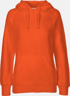 Dam Orange (PMS 021 C) Ekologiska huvtröjor för herr och dam med tryck