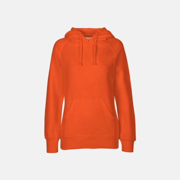 Orange (dam) Ekologiska huvtröjor för herr och dam med tryck