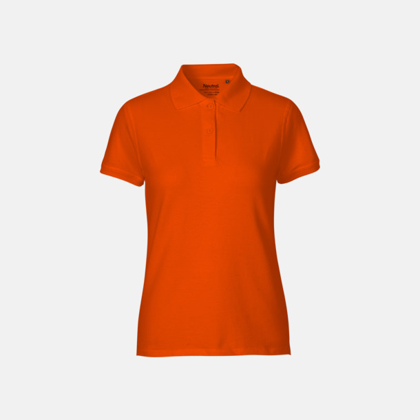 Orange (dam) Fairtrademärkta pikétröjor i herr- och dammodeller med brodyr