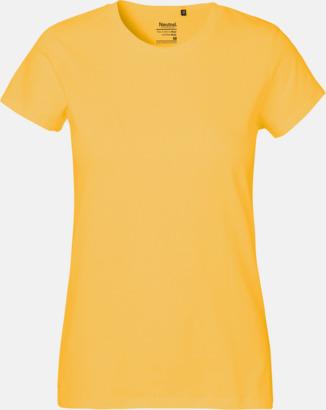 Dam Gul (PMS 122U) Klassiska t-shirts i ekologisk fairtrade-bomull med tryck