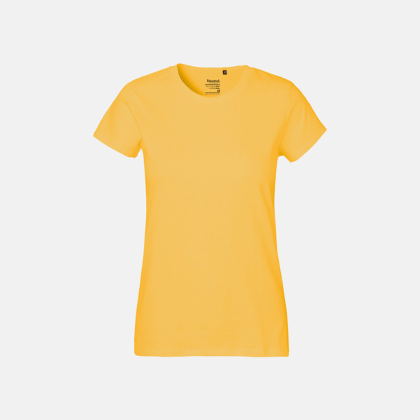 Gul (dam) Klassiska t-shirts i ekologisk fairtrade-bomull med tryck