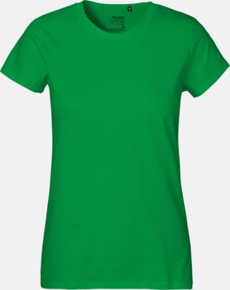Dam Grön (PMS 347U) Klassiska t-shirts i ekologisk fairtrade-bomull med tryck