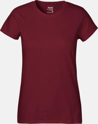 Dam Bordeaux (PMS 222U) Klassiska t-shirts i ekologisk fairtrade-bomull med tryck