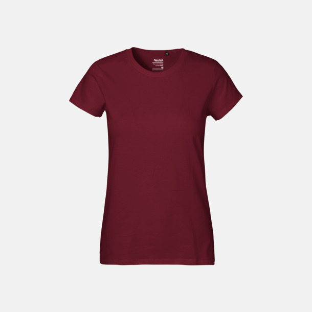 Bordeaux (dam) Klassiska t-shirts i ekologisk fairtrade-bomull med tryck