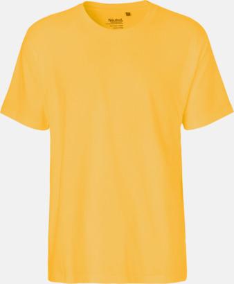 Herr Gul (PMS 122U) Klassiska t-shirts i ekologisk fairtrade-bomull med tryck