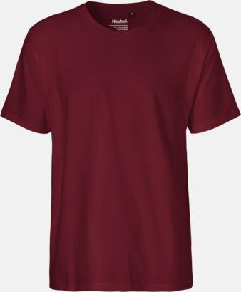 Herr Bordeaux (PMS 222U) Klassiska t-shirts i ekologisk fairtrade-bomull med tryck