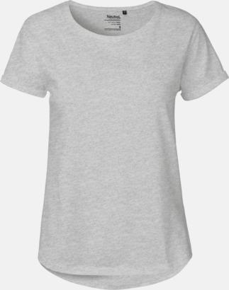 Sports Grey Melange (dam) Eko & Fairtrade-certifierade t-shirts med roll up sleeves - med reklamtryck