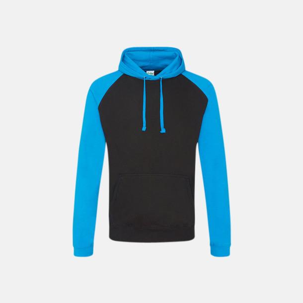 Jet Black/Sapphire Blue (unisex) Kontrast huvtröjor med reklamtryck