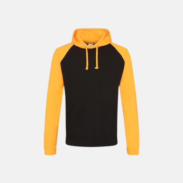 Jet Black/Gold (unisex) Kontrast huvtröjor med reklamtryck