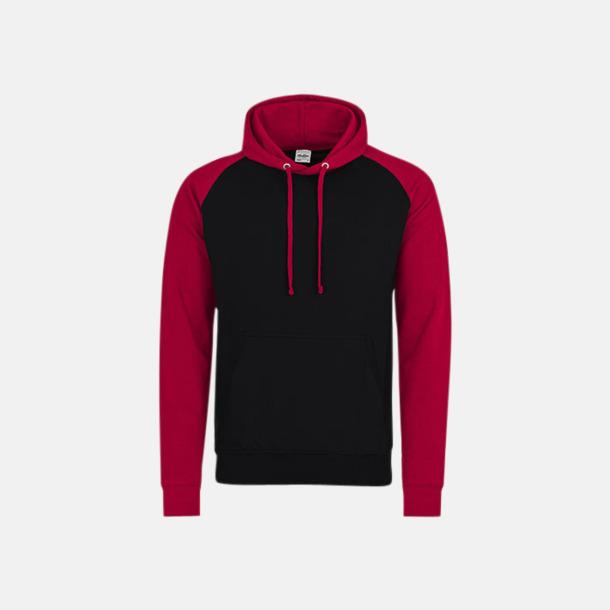 Jet Black/Fire Red (unisex) Kontrast huvtröjor med reklamtryck