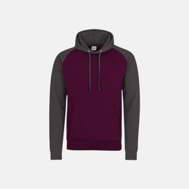 Burgundy/Charcoal (unisex) Kontrast huvtröjor med reklamtryck