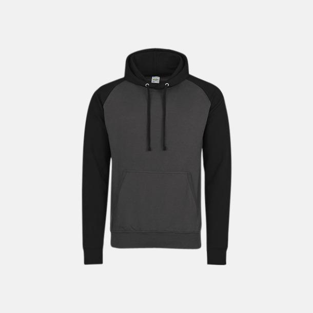 Charcoal (heather)/Jet Black (unisex) Kontrast huvtröjor med reklamtryck