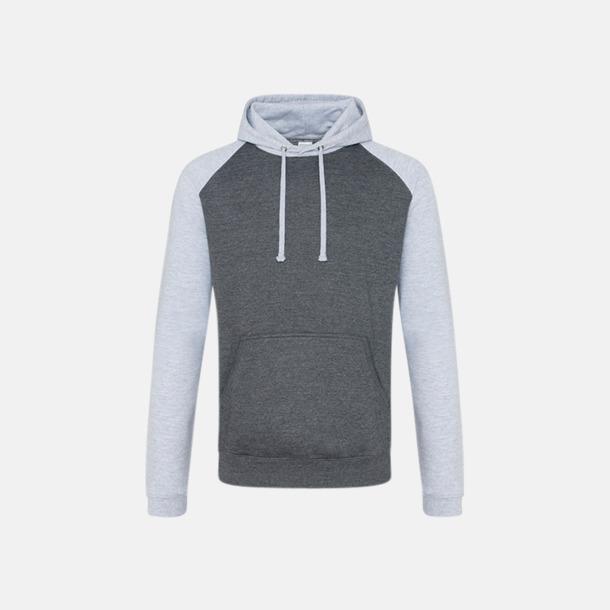 Charcoal (heather)/Heather Grey (unisex) Kontrast huvtröjor med reklamtryck