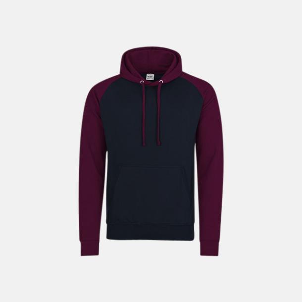 Oxford Navy/Burgundy (unisex) Kontrast huvtröjor med reklamtryck
