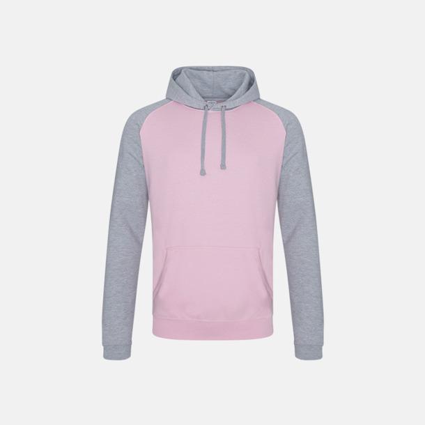 Baby Pink/Heather Grey (unisex) Kontrast huvtröjor med reklamtryck
