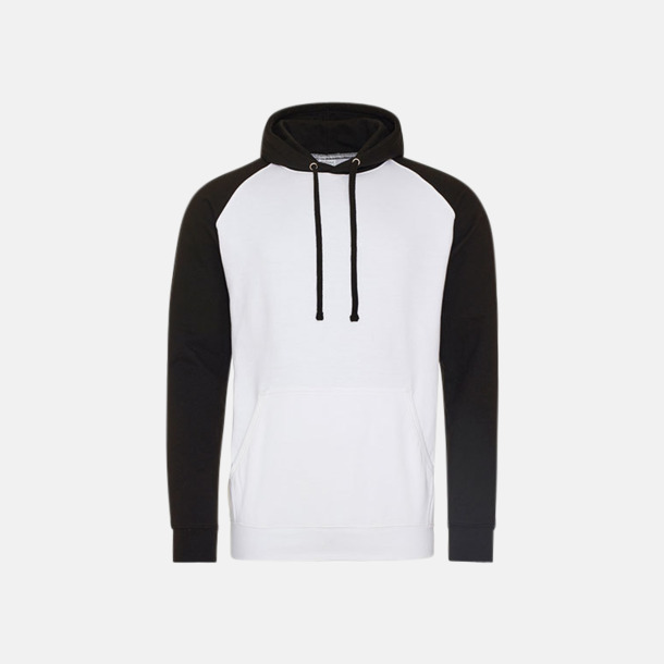 Arctic White/Jet Black (unisex) Kontrast huvtröjor med reklamtryck