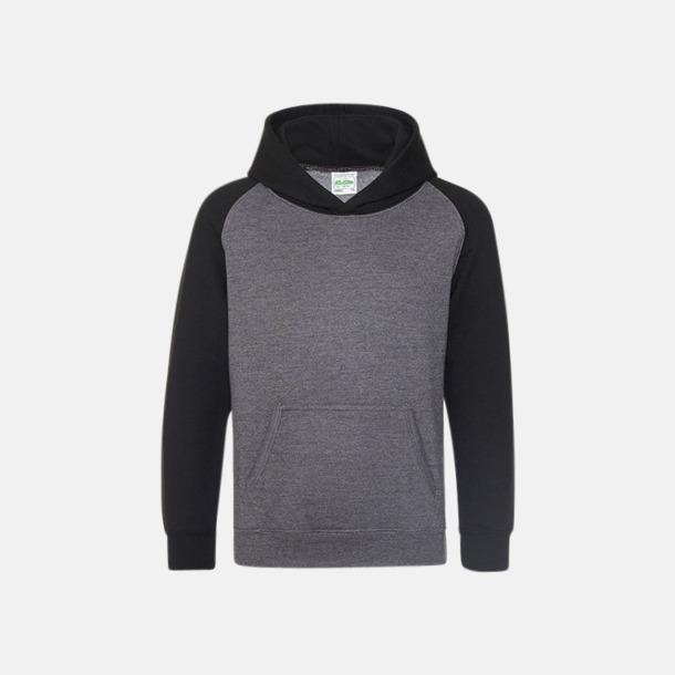 Charcoal (heather)/Jet Black (barn) Kontrast huvtröjor med reklamtryck