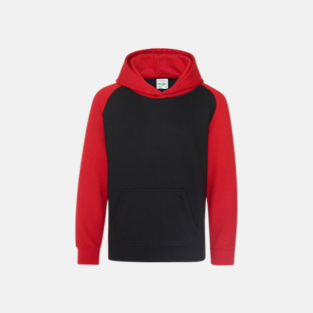 Jet Black/Fire Red (barn) Kontrast huvtröjor med reklamtryck