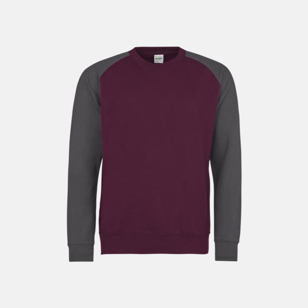 Burgundy/Charcoal (heather) Kontrast tröjor med reklamtryck