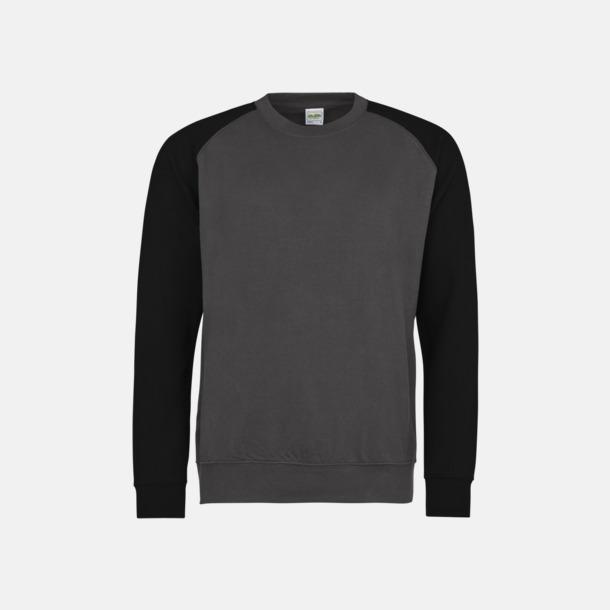 Charcoal (heather)/Jet Black Kontrast tröjor med reklamtryck