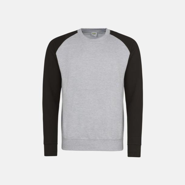 Heather Grey/Jet Black Kontrast tröjor med reklamtryck